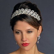 * Silver Clear Bridal Headpiece Tiara 629