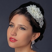 * Silver Rhinestone Ivory Applique Headband HP 937