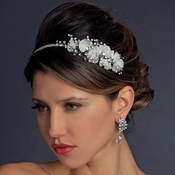 Vintage Inspired Ivory Antique Silver Rhinestone Headband HP 938