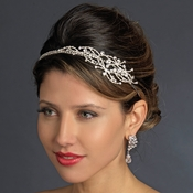 * Antique Silver Clear Rhinestones Side Accented Headband Headpiece 861 (*Only 1 Piece Left in stock)