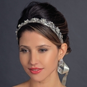 Antique Silver Crystal & Ivory Pearl Bridal Ribbon Headband Headpiece 931