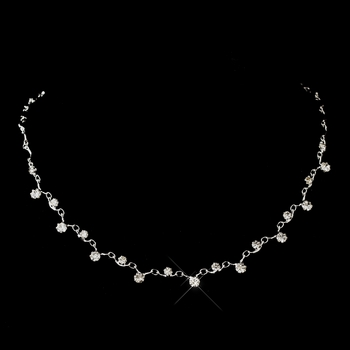 Silver Clear Round Rhinestone Necklace 0937