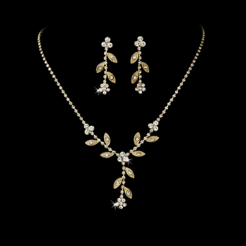 * Necklace Earring Set 1009 Gold Clear