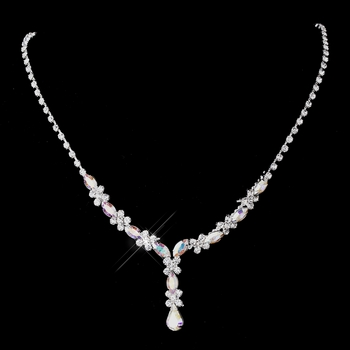 Silver AB & Clear Marquise Necklace 1007