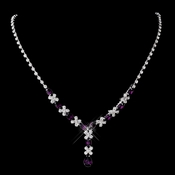 Silver Amethyst & Clear Marquise Necklace 1007
