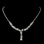 Silver Clear Marquise Necklace 1007