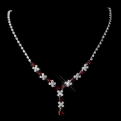 Silver Ruby & Clear Marquise Necklace 1007