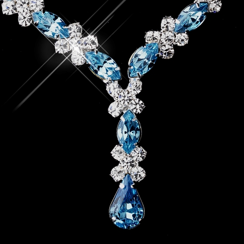 Silver Aqua & Clear Marquise Necklace 1007