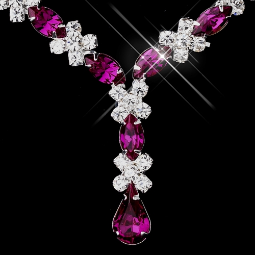 Silver Fuchsia & Clear Marquise Necklace 1007