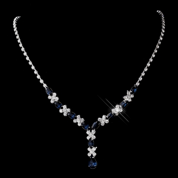 Silver Navy & Clear Marquise Necklace 1007
