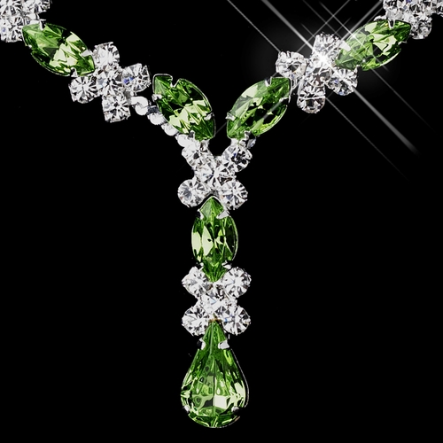 Silver Peridot & Clear Marquise Necklace 1007