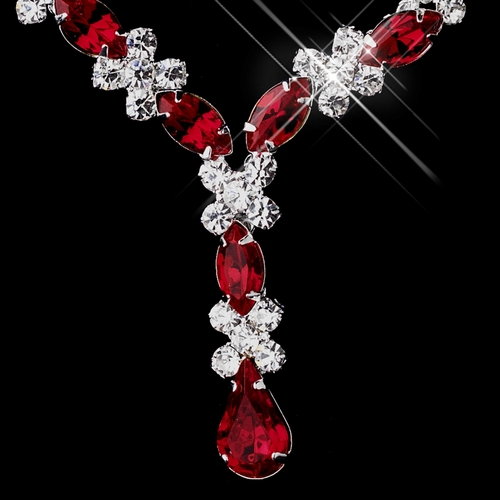 Silver Red & Clear Marquise Necklace 1007