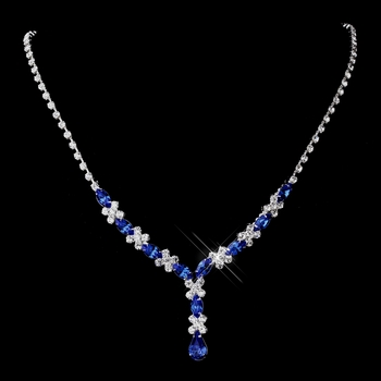 Silver Sapphire & Clear Marquise Necklace 1007