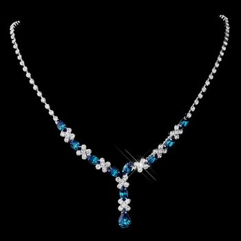 Silver Teal & Clear Marquise Necklace 1007