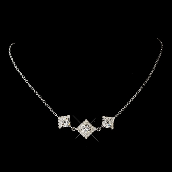 Silver Clear Round Rhinestone Necklace 1461