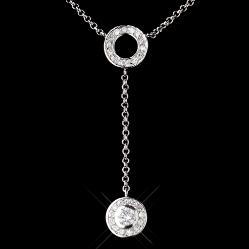 Antique Silver Clear Rhodium Round Dangle Necklace 1661