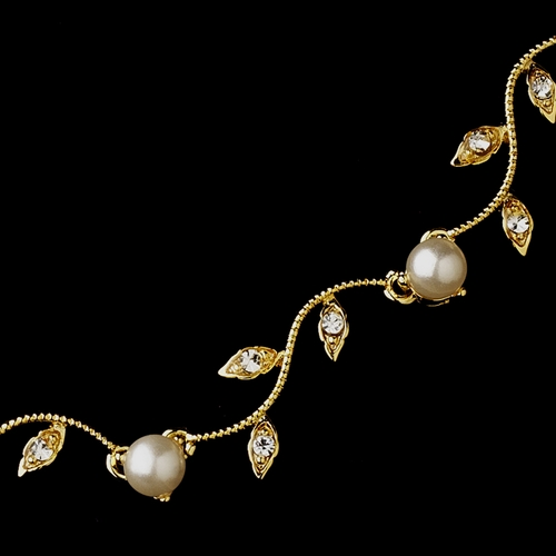 Gold Ivory Pearl & CZ Crystal Necklace 0112