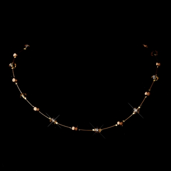 Gold Brown Illusion Czech Glass Pearl & Swarovski Crystal Bead Necklace 2031