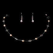 Silver Pink Illusion Czech Glass Pearl & Swarovski Crystal Bead Necklace 2031