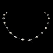 Silver White Illusion Czech Glass Pearl & Swarovski Crystal Bead Necklace 2031