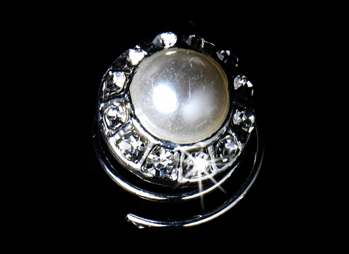 * 24 Lovely Silver Clear Rhinestone & White Pearl Twist-Ins 0230