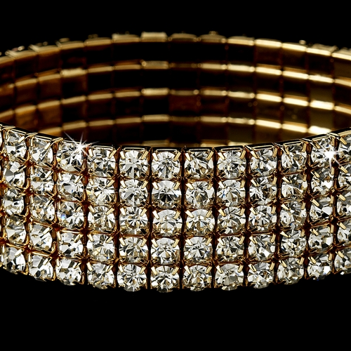 Fabulous Gold 5 Row Clear Rhinestone Stretch Bracelet 8015