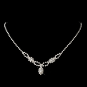 Silver Clear Marquise Rhinestone Necklace 2624