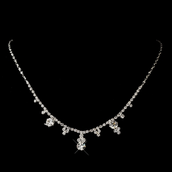 Silver Colors Round Drop Rhinestone Necklace 2876