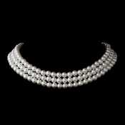Silver White 3 Row Glass Pearl Choker Necklace 3201
