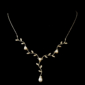 Gold Ivory Pearl & Clear CZ Vine Teardrop Necklace 0116