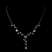 Silver AB CZ Vine Teardrop Necklace 0116