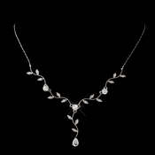 Silver Clear Teardrop Necklace 0116