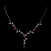Silver Ruby & Clear Teardrop Necklace 0116