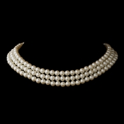 Gold Ivory 3 Row Glass Pearl Choker Necklace 3201