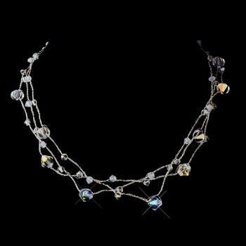 Silver AB Swarovski Crystal Bead Silk Thread Necklace 3292