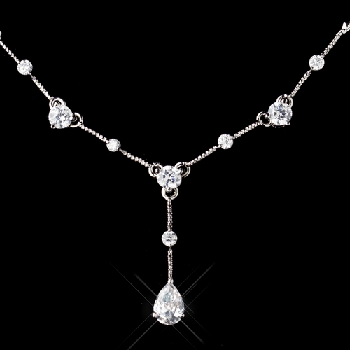 Antique Silver Clear CZ Crystal Necklace 3408