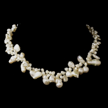 Silver Freshwater Keshi Pearl Necklace 4043