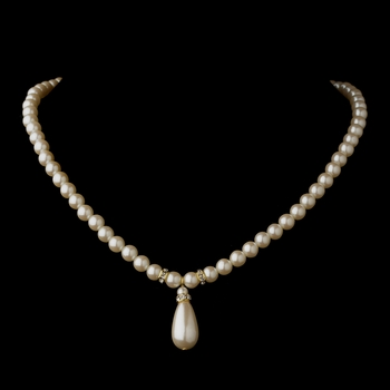 Gold Ivory Glass Pearl & Rhinestone Rondelle Necklace 4691