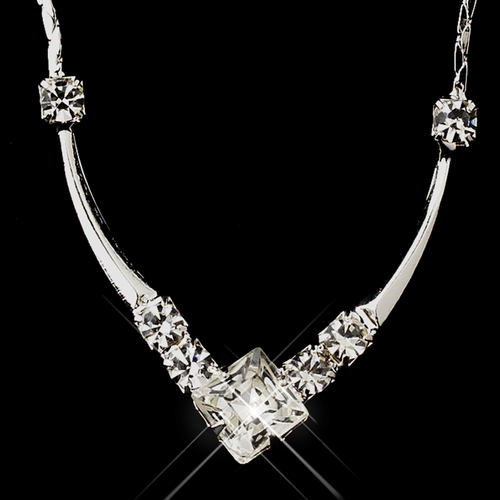 Silver Clear Diamond Shaped Rhinestone Necklace 5136