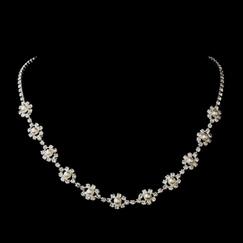 Silver White Pearl & Clear Rhinestone Necklace 5789
