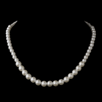 Silver White Pearl Necklace 6021