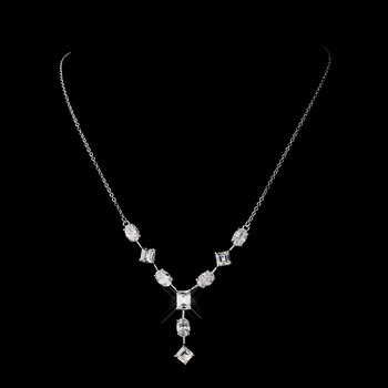 Antique Silver Rhodium Multi Shaped CZ Crystal Necklace 6071