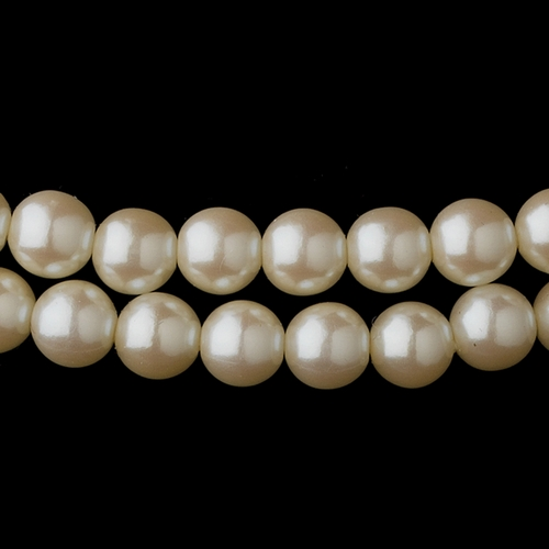 Two Row Gold Ivory Glass Pearl Choker Necklace 4121
