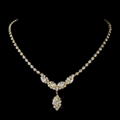 Gold Colors Round & Marquise Rhinestone Necklace 6361