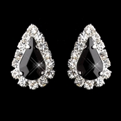 Silver Black & Clear Teardrop Stud Earrings 1361