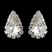 Silver Clear Teardrop Stud Earrings 1361