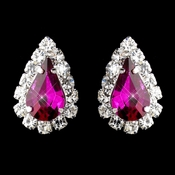 Silver Fuchsia & Clear Teardrop Stud Earrings 1361