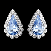 Silver Light Blue & Clear Teardrop Stud Earrings 1361