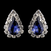 Silver Navy & Clear Teardrop Stud Earrings 1361