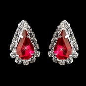 Silver Red & Clear Teardrop Stud Earrings 1361